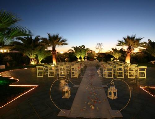 Evento jardín de noche